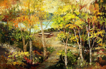 Stroll down this quiet seaside path. Enjoy this en plein air oil painting fine art original.